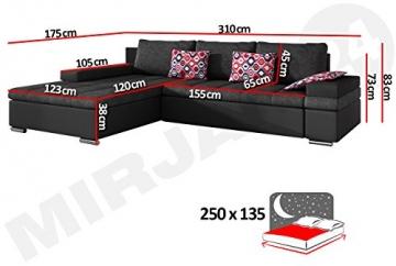 Design Ecksofa Bangkok, Moderne Eckcouch mit Schlaffunktion und Bettkasten, Ecksofa für Wohnzimmer, Gästezimmer, Couch L-Form, Wohnlandschaft, (Ecksofa Links, Soft 029 + Majorka 03) - 5