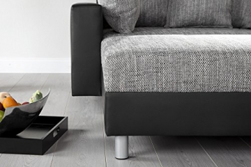Design Ecksofa mit Hocker LOFT schwarz Strukturstoff grau Federkern OT beidseitig aufbaubar - 3