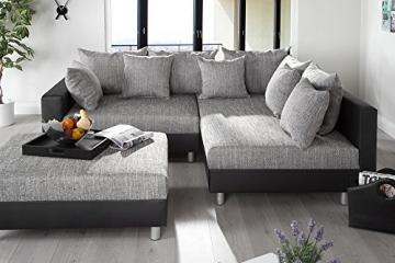 Design Ecksofa mit Hocker LOFT schwarz Strukturstoff grau Federkern OT beidseitig aufbaubar - 4