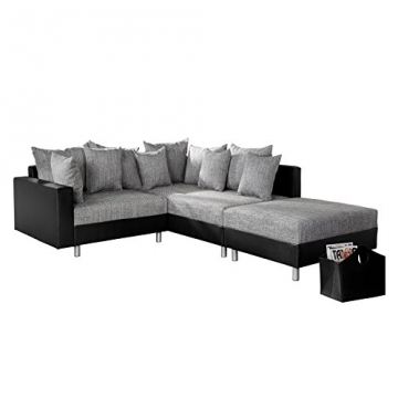 Design Ecksofa mit Hocker LOFT schwarz Strukturstoff grau Federkern OT beidseitig aufbaubar - 1