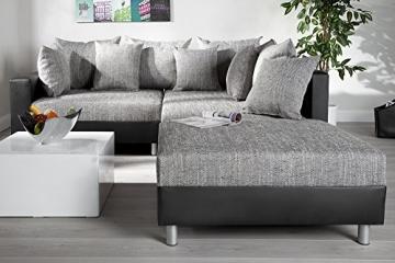 Design Ecksofa mit Hocker LOFT schwarz Strukturstoff grau Federkern OT beidseitig aufbaubar - 5