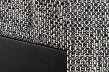 Design Ecksofa mit Hocker LOFT schwarz Strukturstoff grau Federkern OT beidseitig aufbaubar - 6