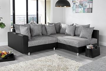 Design Ecksofa mit Hocker LOFT schwarz Strukturstoff grau Federkern OT beidseitig aufbaubar - 9