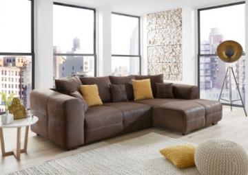 Ecksofa Love Seats / Polster Eck-Couch mit Kissen / In Antik-Leder-Optik mit nussbaumfarbenen Holzfüßen / 285x69x170 (B x H x T) / Braun - 2