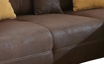 Ecksofa Love Seats / Polster Eck-Couch mit Kissen / In Antik-Leder-Optik mit nussbaumfarbenen Holzfüßen / 285x69x170 (B x H x T) / Braun - 3