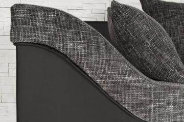 Großes Ecksofa SULTAN schwarz Strukturstoff schwarz OT rechts - 6