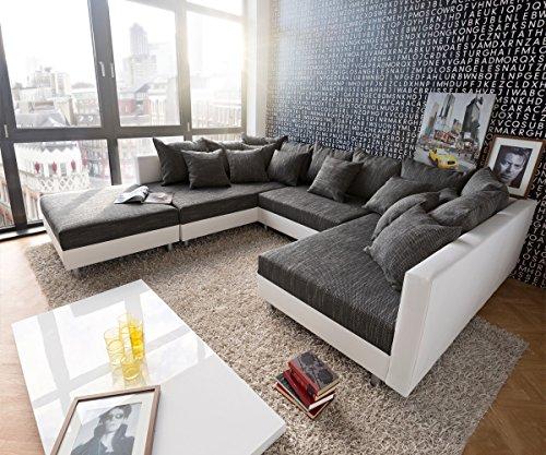 Günstige Wohnlandschaft Ii❶ii Couch Clovis Weiss Schwarz Mit Hocker
